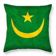 Mauritania Flag Vintage Distressed Finish Throw Pillow