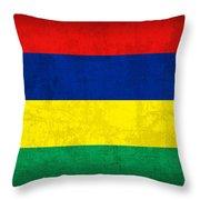 Mauritius Flag Vintage Distressed Finish Throw Pillow