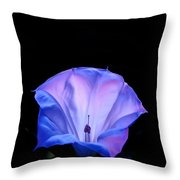 Mauve Blue Black Angels Trumpet Throw Pillow
