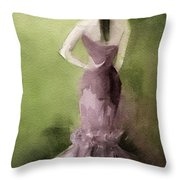 Mauve Evening Gown Fashion Illustration Art Print Throw Pillow by Beverly Brown