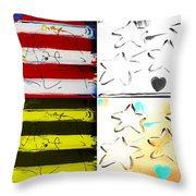 Max Americana In Quad Colors Throw Pillow