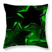 Max Two Stars In Green Throw Pillow
