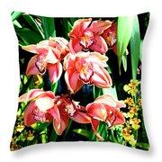 Joy Orchids Throw Pillow
