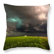 May Thunderstorm - Storm Twists Over House On Colorado Plains Throw Pillow