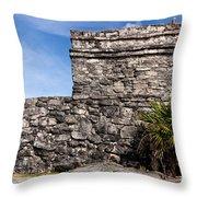 Mayan Building At Tulum Throw Pillow