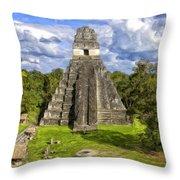 Mayan Temple At Tikal Throw Pillow