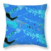 Mayfly Abstract Blue Throw Pillow