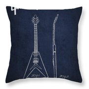 Mccarty Gibson Electric Guitar Patent Drawing From 1958 - Navy Blue Throw Pillow