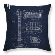 Mccarty Gibson Les Paul Guitar Patent Drawing From 1955 - Navy Blue Throw Pillow