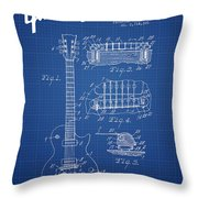 Mccarty Gibson Les Paul Guitar Patent Drawing From 1955 - Bluepr Throw Pillow
