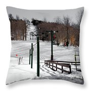 Mccauley Mountain Ski Area Vi- Old Forge New York Throw Pillow