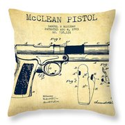 Mcclean Pistol Drawing From 1903 - Vintage Throw Pillow