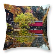 Mcconnell's Mill And Covered Bridge Throw Pillow