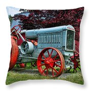 Mccormick Deering Red-wheeled Tractor Throw Pillow