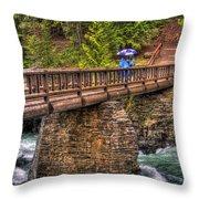Mcdonald Creek Bridge Throw Pillow