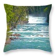Mcdonald Creek Falls In Glacier Np-mt Throw Pillow