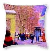 Mcgill Campus Eager Students Enter Roddick Gates Montreal Collectible Art Prints Carole Spandau  Throw Pillow