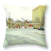 Mcgill University Campus Sherbrooke Street Scene Early Morning Winter Day Montreal Carole Spandau Throw Pillow