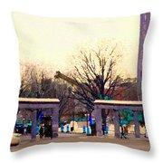 Mcgill University The Night Shift Arrives Sherbrooke Downtown Montreal Scenes Carole Spandau  Throw Pillow