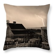 Mcintosh Farm Lightning Sepia Thunderstorm Throw Pillow by James BO  Insogna