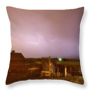 Mcintosh Farm Lightning Thunderstorm View Throw Pillow