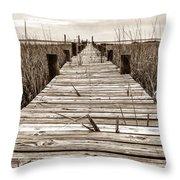 Mcteer Dock - Sepia Throw Pillow
