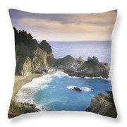 Mcway Cove Falls In Big Sur Throw Pillow
