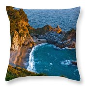Mcway Waterfall. Big Sur Throw Pillow