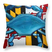 Md Blue Crab Throw Pillow
