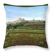 Mdina Poppies Malta Throw Pillow by Richard Harpum