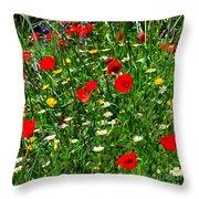 Meadow Flowers - Digital Oil Throw Pillow
