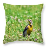 Meadowlark In The Wildflowers Throw Pillow