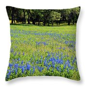 Meadows Of Blue And Yellow. Texas Wildflowers Throw Pillow