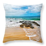 Meandering Waves On Tropical Beach Throw Pillow