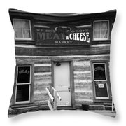 Meat And Cheese Market Black And White Throw Pillow