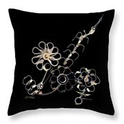 Mechanical Flowers Throw Pillow