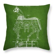 Mechanical Horse Patent Drawing From 1893 - Green Throw Pillow