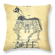 Mechanical Horse Patent Drawing From 1893 - Vintage Throw Pillow