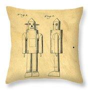 Mechanical Man Patent Throw Pillow