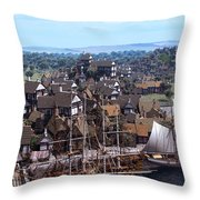 Med Village Throw Pillow by Dominic Davison