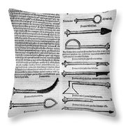 Medical Instruments, 1531 Throw Pillow