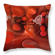 Medical Nanobots In The Bloodstream Throw Pillow