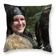 Medieval Barbarian Eriana Iceni And Spirit Throw Pillow