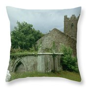Medieval Church And Churchyard Throw Pillow