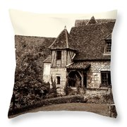 Medieval Cottage In Sarlat Sepia Throw Pillow