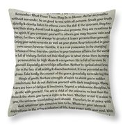 Medieval Desiderata Poster On Estruscan Marble Throw Pillow