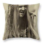 Medieval Female Gladiator Throw Pillow