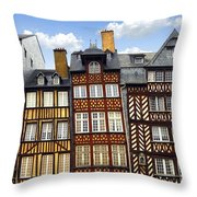 Medieval Houses In Rennes Throw Pillow