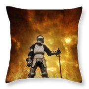 Medieval Knight In Armour On A Burning Battlefield Throw Pillow