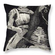 Medieval Knight On Horseback - Chevalier - Caballero - Cavaleiro - Fidalgo - Riddare -ridder -ritter Throw Pillow